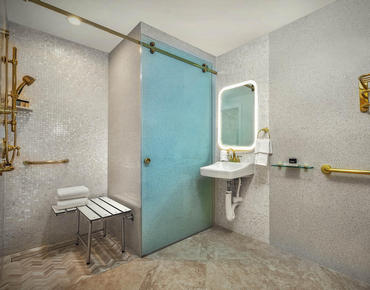 ADA Courtyard Double Suite Bathroom