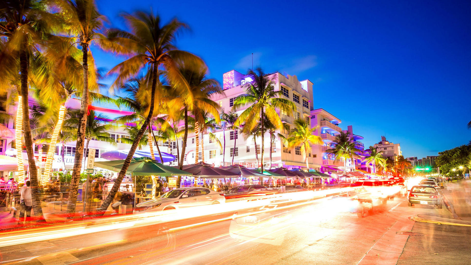 Miami beach lights at night