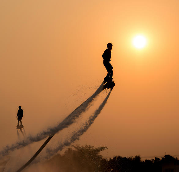 Flyboarding in the sunset